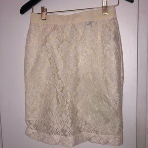 Cream knee length lace skirt